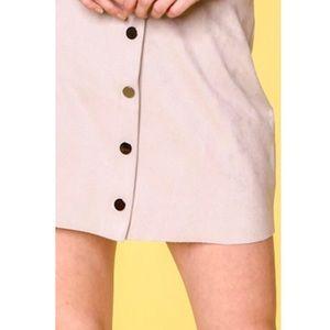 Naked Zebra Skirts - Black suede button up mini skirt